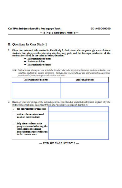 music study task form