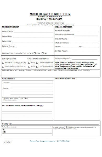 music therapy request form