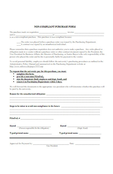 non compliant purchase form