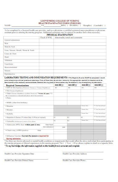 nursing health examination form