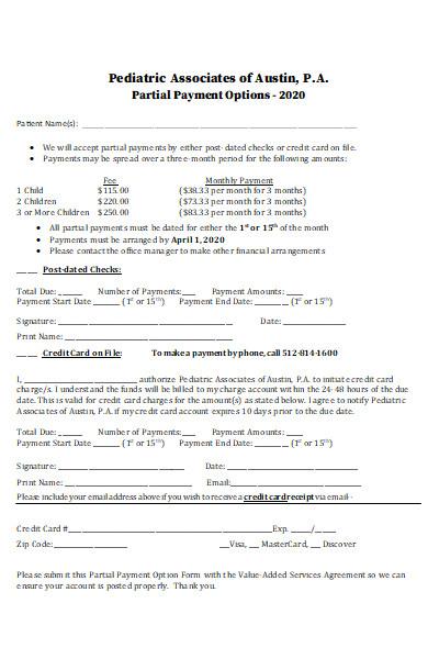 partial payment option form