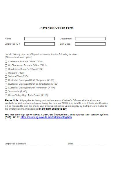 paycheck option form