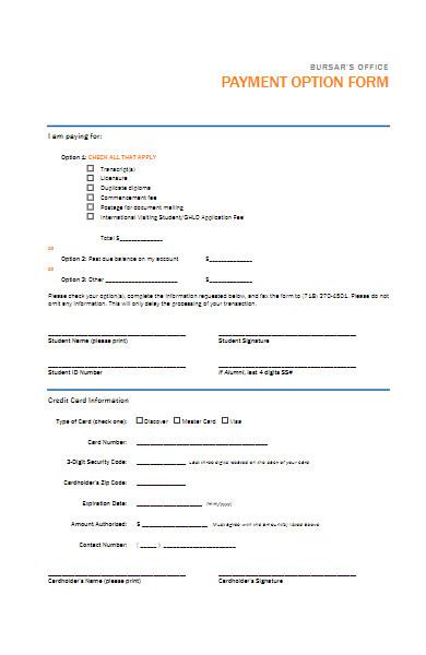 payment option form