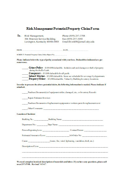 potential property claim form