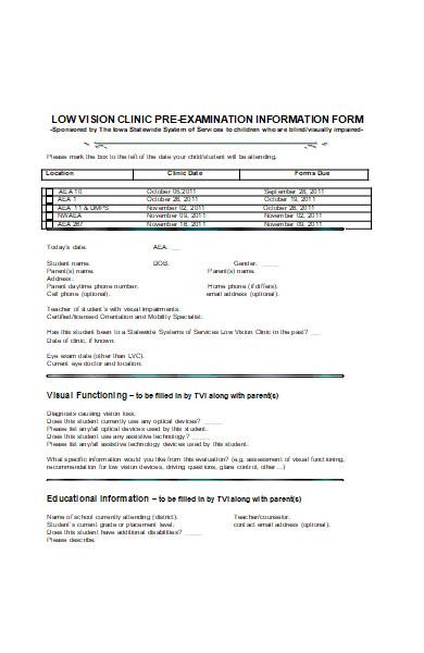 pre examination information form