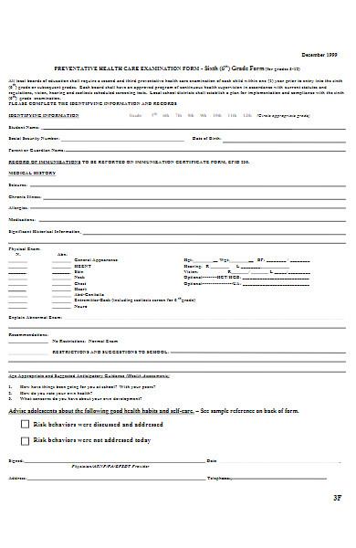 preventative health care examination form