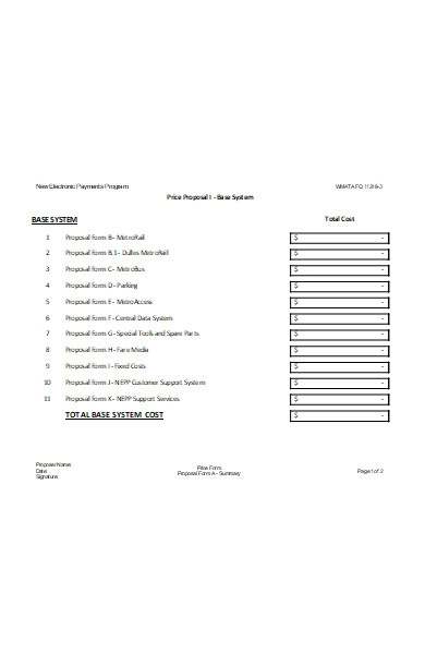 price proposal option form