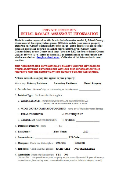 private property damage assessment form