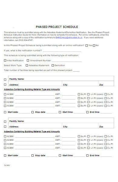 project schedule form