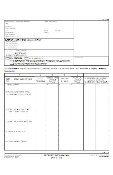 property declaration form