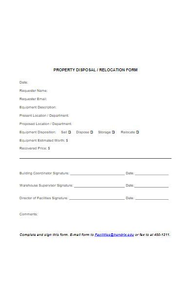 property disposal form