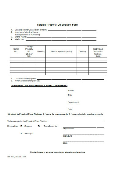 property disposition form