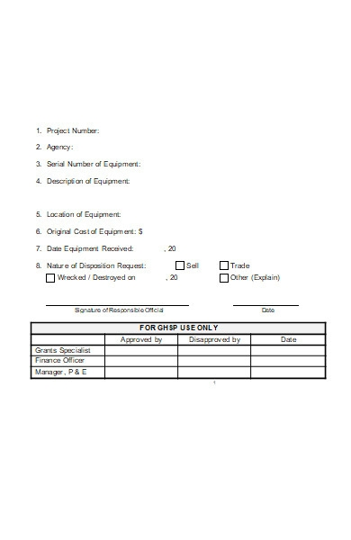 property disposition request form