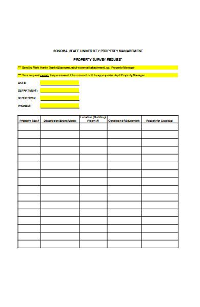 property survey request form