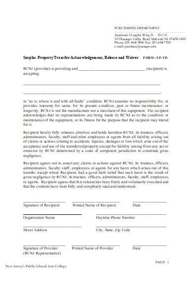 property transfer acknowledgement form