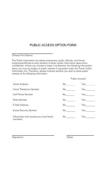 public access option form