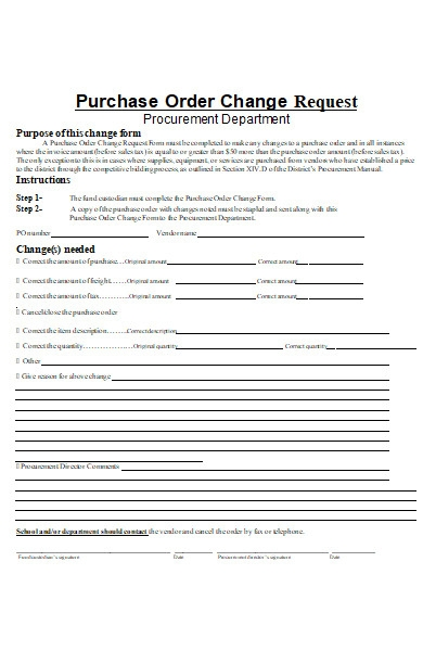 purchase order change request forms