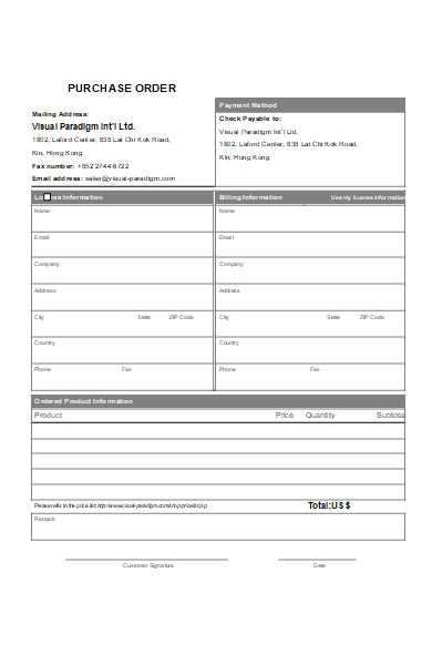 purchase order check form