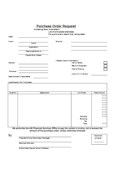 purchase order form request example