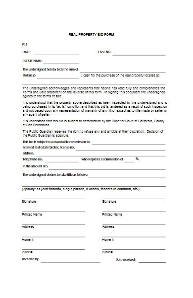 real property bid form
