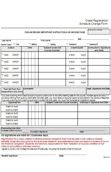 registration schedule change form