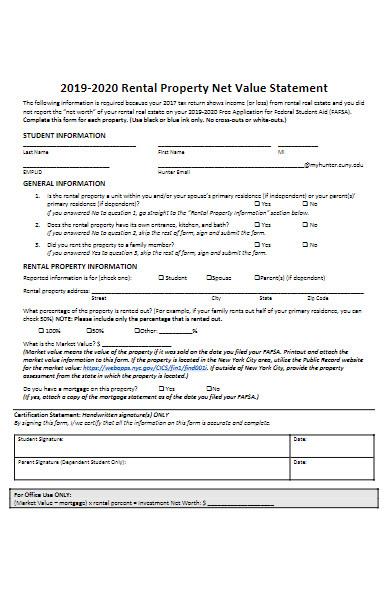 rental property net value statement form