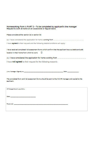 request form to work at home