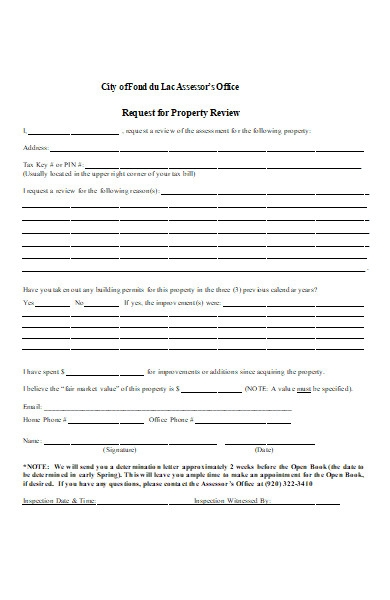 request for property review form