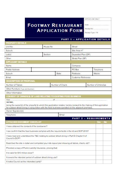 restaurant application form example