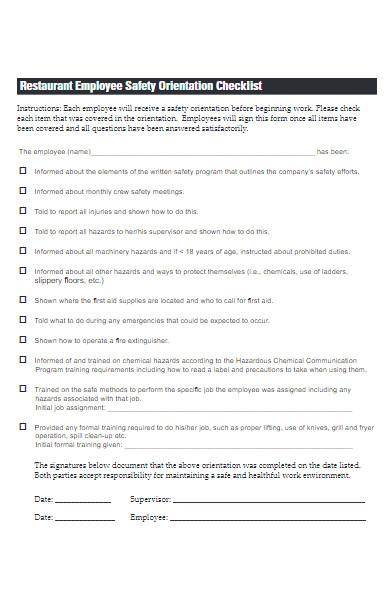 restaurant employee safety checklist form