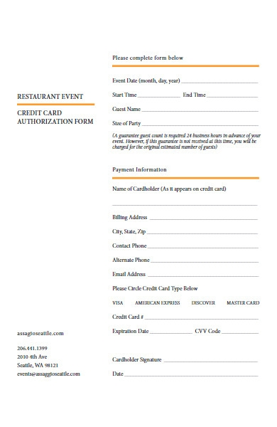 restaurant event credit card authorization form