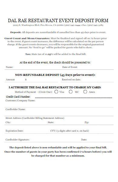 restaurant event deposit form