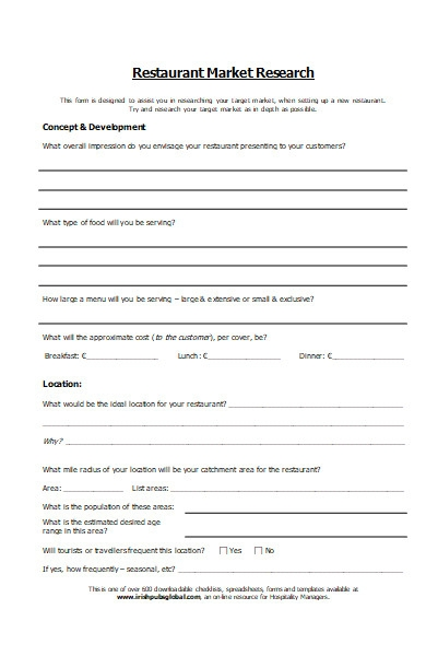 restaurant market research form
