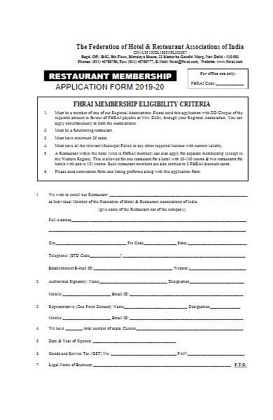 restaurant membership applications form
