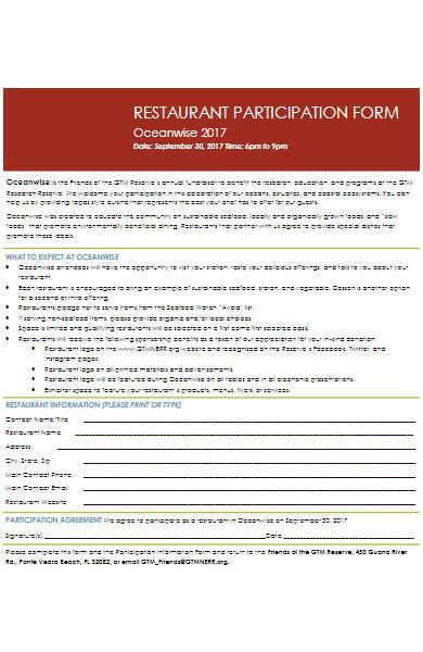 restaurant participation application form