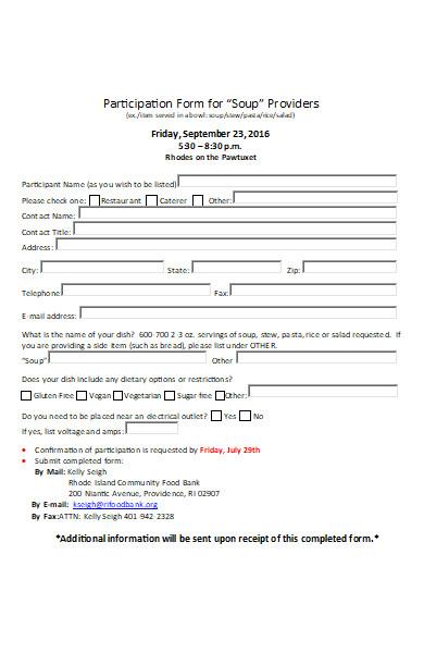 restaurant participation application forms