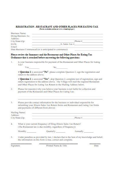 restaurant registration form for eating tax