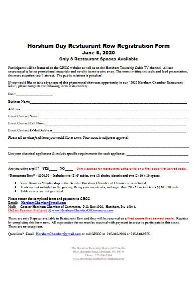 restaurant row registration form