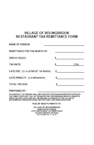 restaurant tax remittance form