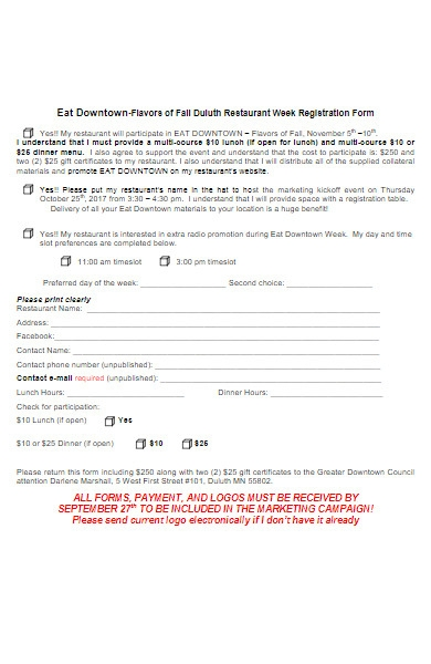 restaurant week registration form