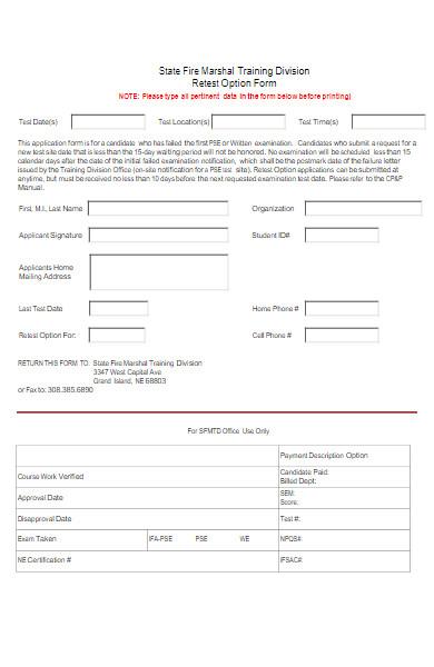 retest option form