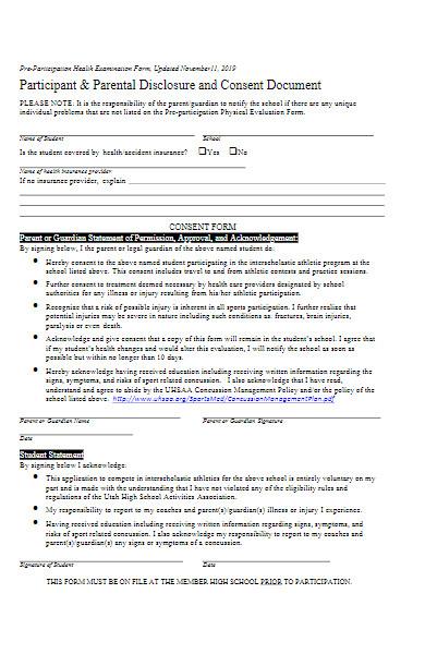 sample pre participation examination form