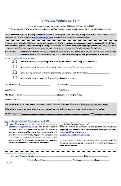 sample university withdrawal form