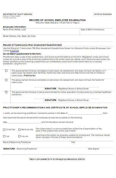 school employee examination form