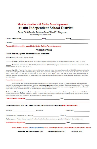 school fee payment option form