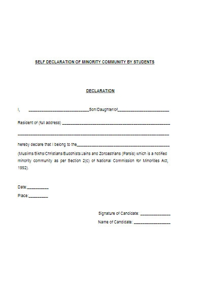 self declaration form of minority community by students
