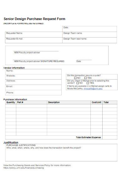 senior design purchase request form