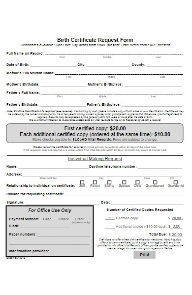 simple birth certificate request form
