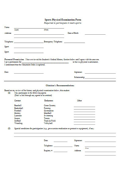 sports physical examination form