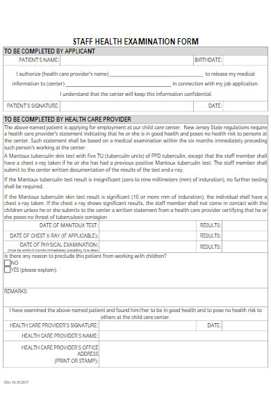 staff health examination form